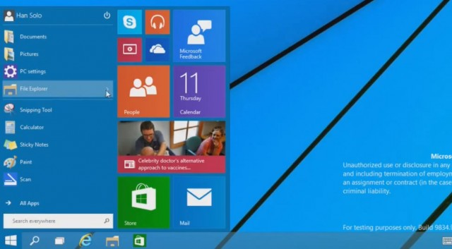 Video: A Looks at Windows 9 and it's STARTMENU